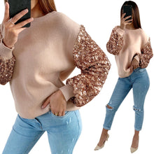 Load image into Gallery viewer, Women Casual Long Sleeve Sequin Fashion Blouse Pullover Top