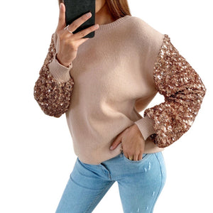 Women Casual Long Sleeve Sequin Fashion Blouse Pullover Top