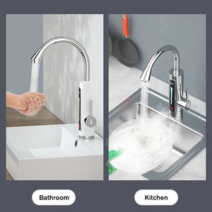 (2S Heating) 4 Types 3000W/3300 Electric Heating Faucet Instant Hot Water Tap With LED Ambient Light Temperature Display