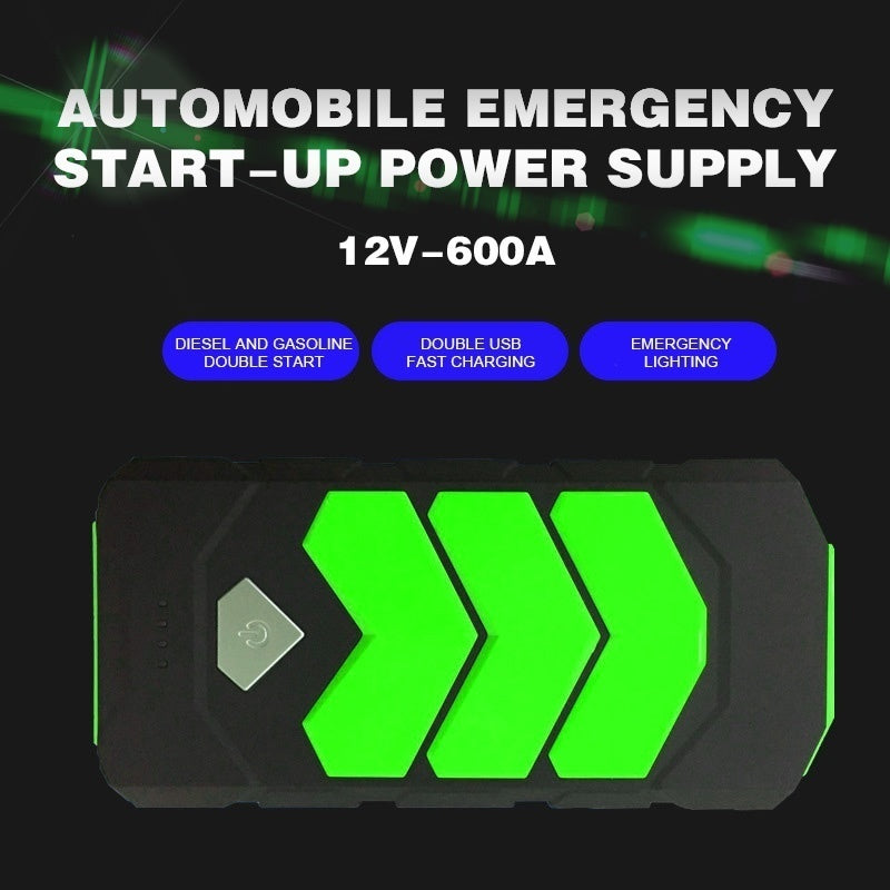Green 600A Car Jump Starter Battery Power Bank USB Charger Rescue Pack Booster