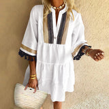 Fashion Women Half Sleeve Vintage Tassels Ruffled Dress 100% Cotton Bohemian Holiday Midi Dresses Kleid S-5XL