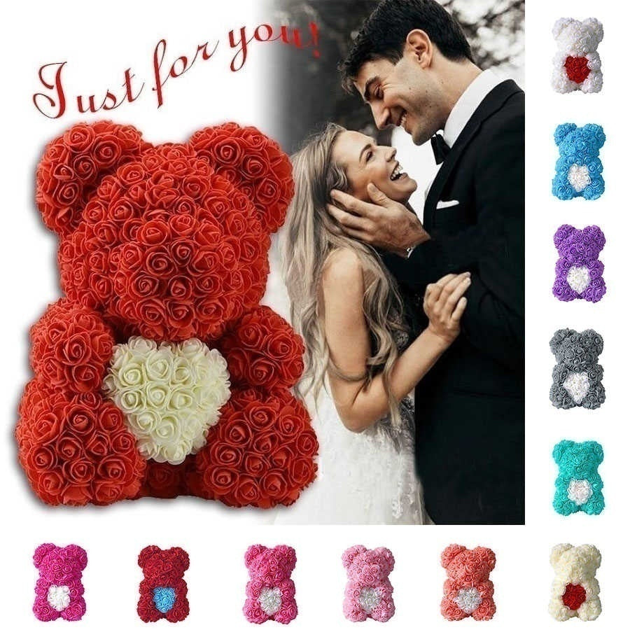 25CM Rose Bear Lovers Bear Dolls Christmas Gift Artificial Rose Toy Flower Gift for Lover/Mom/Friend