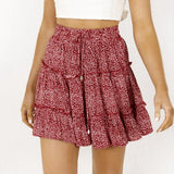 Fantastic Women Summer Casual Bohe High Waist Ruffled Floral Print Beach Short Skirt