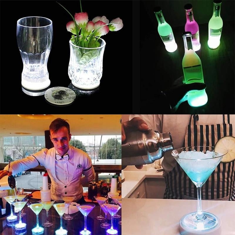 Leegoal 10pcs/set  LED Bar Coaster LED Stickers Light Up Bar Coasters For Drinks Cup Holder Lights For Wine Liquor Bottle Perfect For Party Wedding Bar (white)