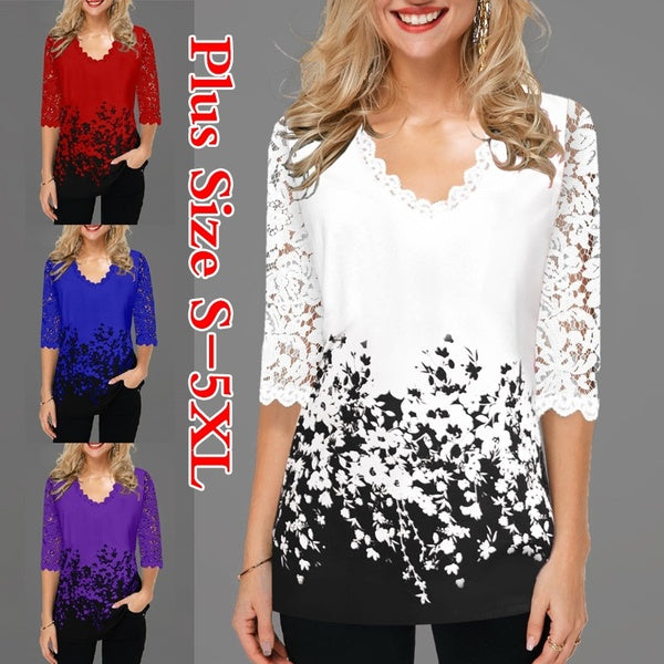 New Women's Fashion Spring V Neck Half Sleeves Lace Tops Printed Pullover T-shirt Casual Plus Size Pullover Blouse