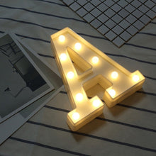 Load image into Gallery viewer, High Quality Shape A-Z INS hot English letter light LED symbol modeling lamp wedding digital light birthday proposal white light