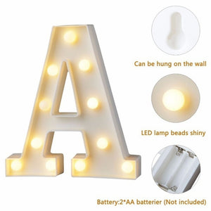 High Quality Shape A-Z INS hot English letter light LED symbol modeling lamp wedding digital light birthday proposal white light