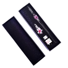 Load image into Gallery viewer, New Creative Glass Pens Flower Pattern Transparent Fountain Pen Set Color Ink