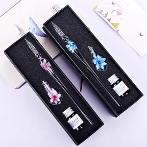 New Creative Glass Pens Flower Pattern Transparent Fountain Pen Set Color Ink