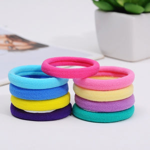 100Pcs High Quality Elastic Ponytail Accessories Girls Ladies Rubber Band Hair Accessories (Mixed Color)
