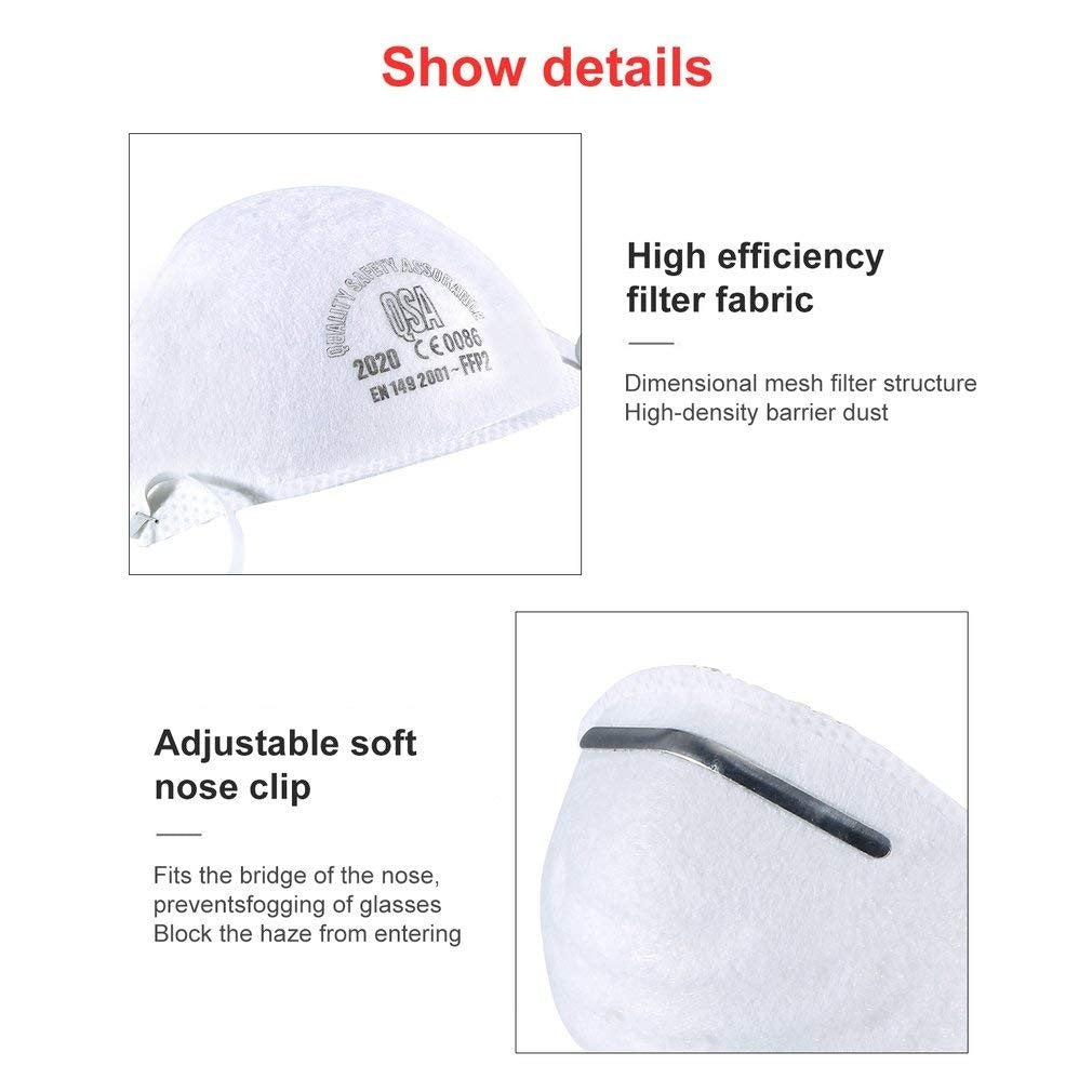 Disposable Respiratory Mask for Dust N95 Anti-Virus and PM2.5 Mask, N95/FFP2 Mask Dust Face Mask QSA 2000, Flow Valve Smoke Anti-Infection Protective Mask-FFP2=N95(Chinese standard)