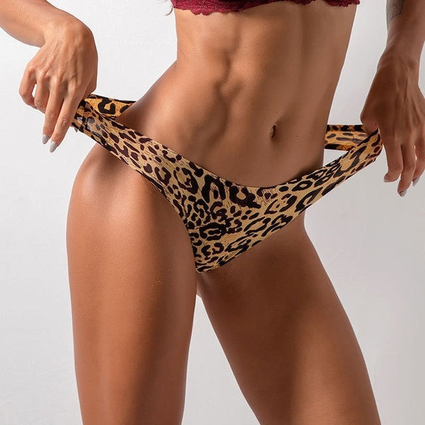Sexy Thin Thong Soft Breathable Ice Silk Leopard Panties Underwear Women Seamless T-Back Low Waist Erotic lingerie G-Strip