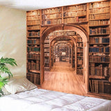 Library Bookshelf Tapestry Wall Hanging Wall Art Tapestry Printed Wall Tapestry for Bedroom Background Home Decor