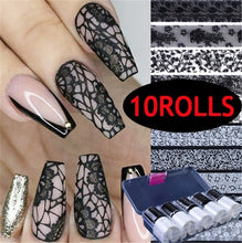 Load image into Gallery viewer, 10Rolls/Set Holographic Transfer Foils Stickers for NailsFlowers Decals Slider Design