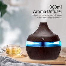 Load image into Gallery viewer, 300ml Air Humidifier Led Aroma Essential Oil Diffuser Wood Grain Ultrasonic Humidifier Mini USB Atomizer Purifier Nightlight