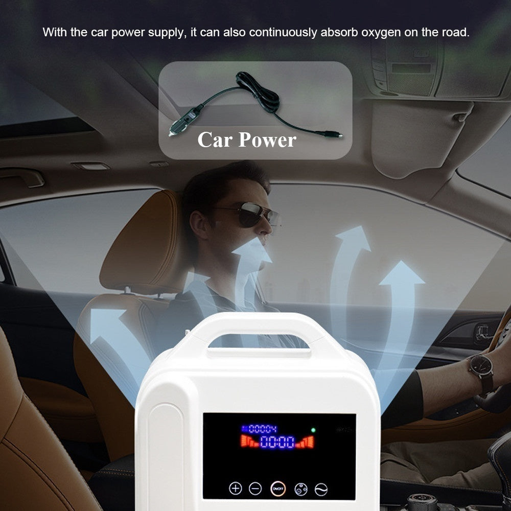 1L/Min Portable Home Oxygen Concentrator O2 Generators Air Purifier With Car Adapter