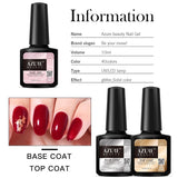 Gel Nail Polish Kit 4 / 8 Color with Base Coat and Top Coat Nail Art Diy Tool Kit (6W/36W Nail Lamp for Choice)