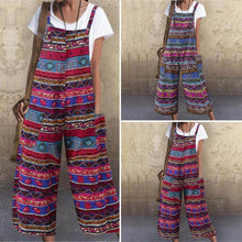 Load image into Gallery viewer, Women Straps Cotton Jumpsuit Rompers Loose Bib Pants Ethnic Print Wide Leg Overalls