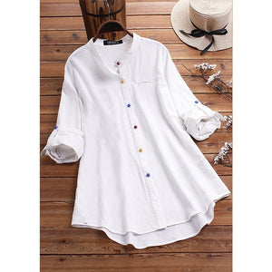 Women s Solid Color Shirt Stand Collar Color Button Long Shirt Casual Loose Tops Plus Size XS-5XL