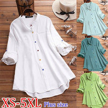 Load image into Gallery viewer, Women s Solid Color Shirt Stand Collar Color Button Long Shirt Casual Loose Tops Plus Size XS-5XL