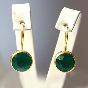 Dazzling Emerald Earrings 14K Gold Round Diamond Earrings Natural Gemstone Earrings Emerald Dangle Earrings Birthstone Earrings Bride Engagement Emerald Green Earrings Engagement Jade Earrings