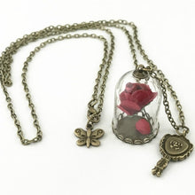 Load image into Gallery viewer, Princess Necklace Enchanted Rose In Terrarium Pendant Plated Valentines Day Fairy Tale Victorian Jewelry