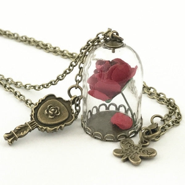 Princess Necklace Enchanted Rose In Terrarium Pendant Plated Valentines Day Fairy Tale Victorian Jewelry