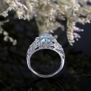 925 Sterling Silver Sapphire Diamond Hollowed Design Ring for Women Ladies Party Wedding Jewelry Anniversary Gift