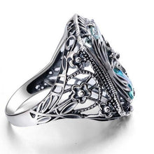Load image into Gallery viewer, 925 Sterling Silver Sapphire Diamond Hollowed Design Ring for Women Ladies Party Wedding Jewelry Anniversary Gift