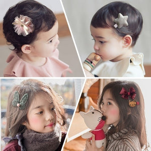 6/12/18pcs Children Cartoon Hair Clip Girl Gifts Headwear Hairpin Hair Rope Accessories Hair Ring Circle Kids Lovely Rubber Band 7Colors