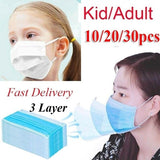 30\/20\/10Pcs 3 Layer Kid\/Adult Disposable Elastic Mouth Soft Breathable Blue Soft Breathable Flu Hygiene Child Kids Face Mask Random Color