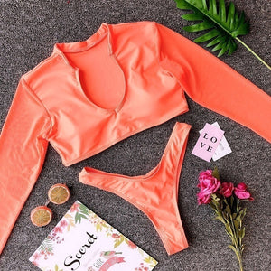 2020 Arrival Women  Mesh Long Sleeve Swimsuit Crop Top Bikini Set Bathing Suit Beach Swimwear