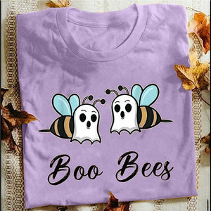 2020 New Arrival Women's Fashion 'Boo Bees' Printed Funny Graphic T-shirts Women Round Collar Cotton Short Sleeve T-shirts Top Blouse Pullover