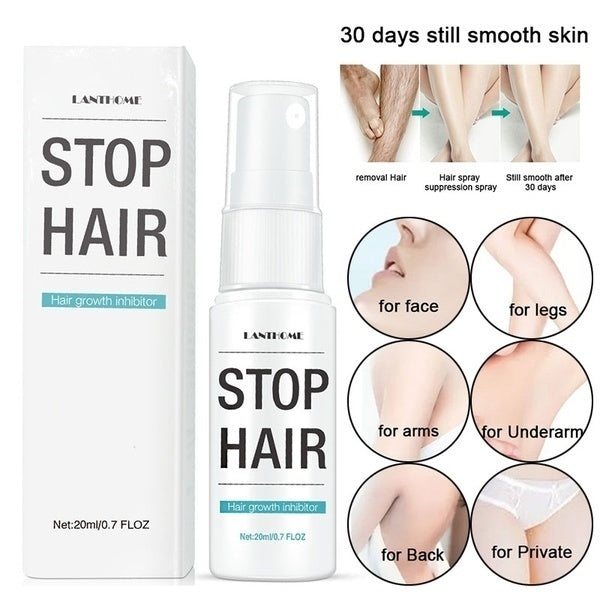 New Powerful Permanent Hair Removal Spray Reject Hair Regeneration Hair Growth Inhibitor(20ml)