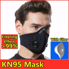 Load image into Gallery viewer, Anti Virus N95 Mask Breathable Valve Mask PM2.5 Dust Mask Breathable Foldable Resizable Filter Outdoor Cycling Running Protection Face Mask