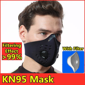 Anti Virus N95 Mask Breathable Valve Mask PM2.5 Dust Mask Breathable Foldable Resizable Filter Outdoor Cycling Running Protection Face Mask