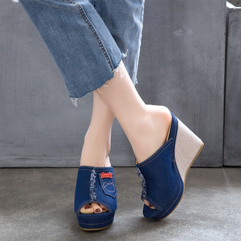 Women Fashion Wedge Heels Platform Slippers Shoes Comfortable Denim Peep Toe Sandals