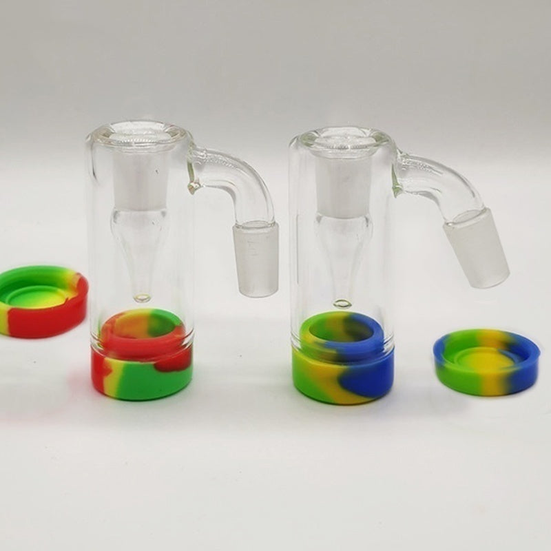 14mm Male Glass Reclaim Catcher with Silicone Jar for Dab Rig