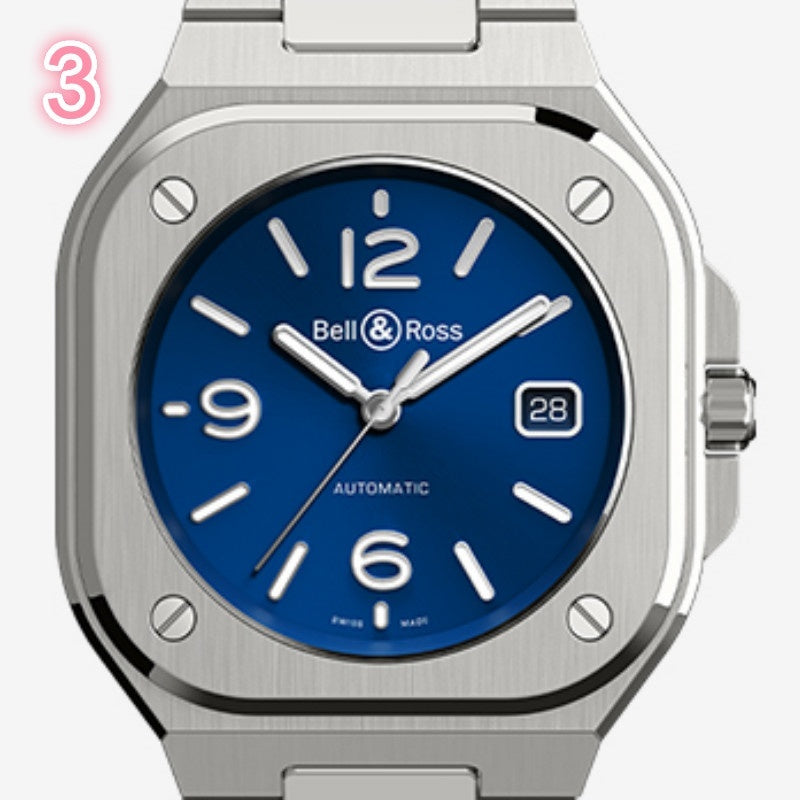 Belle&Ross 4-Colors Men's  Automatic Classic Quartz Watch Personality  Calendar Steel Band Watch Herrenuhr Montre Homme Orologi Relogio Masculino Uomo Relogio Masculino