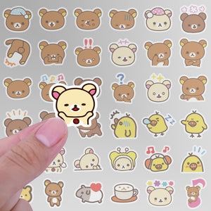 1 pack Kawaii Rilakkuma Bear Cute Cartoon Waterproof PVC Stationery Stickers Scrapbooking DIY Diary Luggage Album Stick Label