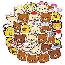 Load image into Gallery viewer, 1 pack Kawaii Rilakkuma Bear Cute Cartoon Waterproof PVC Stationery Stickers Scrapbooking DIY Diary Luggage Album Stick Label