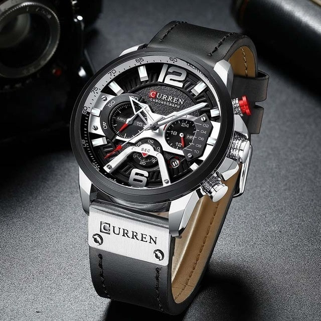 Curren Mens Watches Top Brand Luxury Chronograph Men Watch Leather Waterproof Sport Quartz Wristwatch