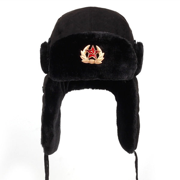 Soviet military badge Russian Ushanka bomber hat pilot pilot hat faux rabbit winter hat with fur earmuffs, snow hat