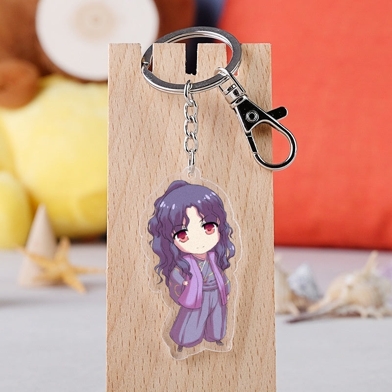 12 Styles Inuyasha Keychain Higurashi Kagome Sango Sesshoumaru Naraku Key Chain Toys For Kids School Supplies