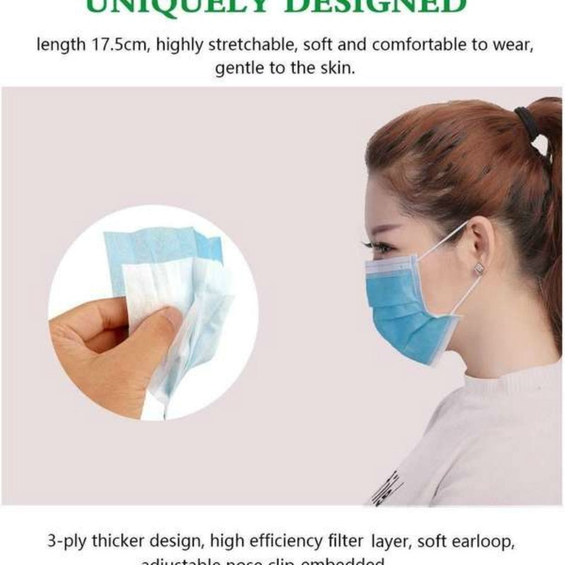 1 Pcs 3-Ply Disposable Face Mask, Dust Mask Flu Face Masks with Elastic Ear Loop for All People