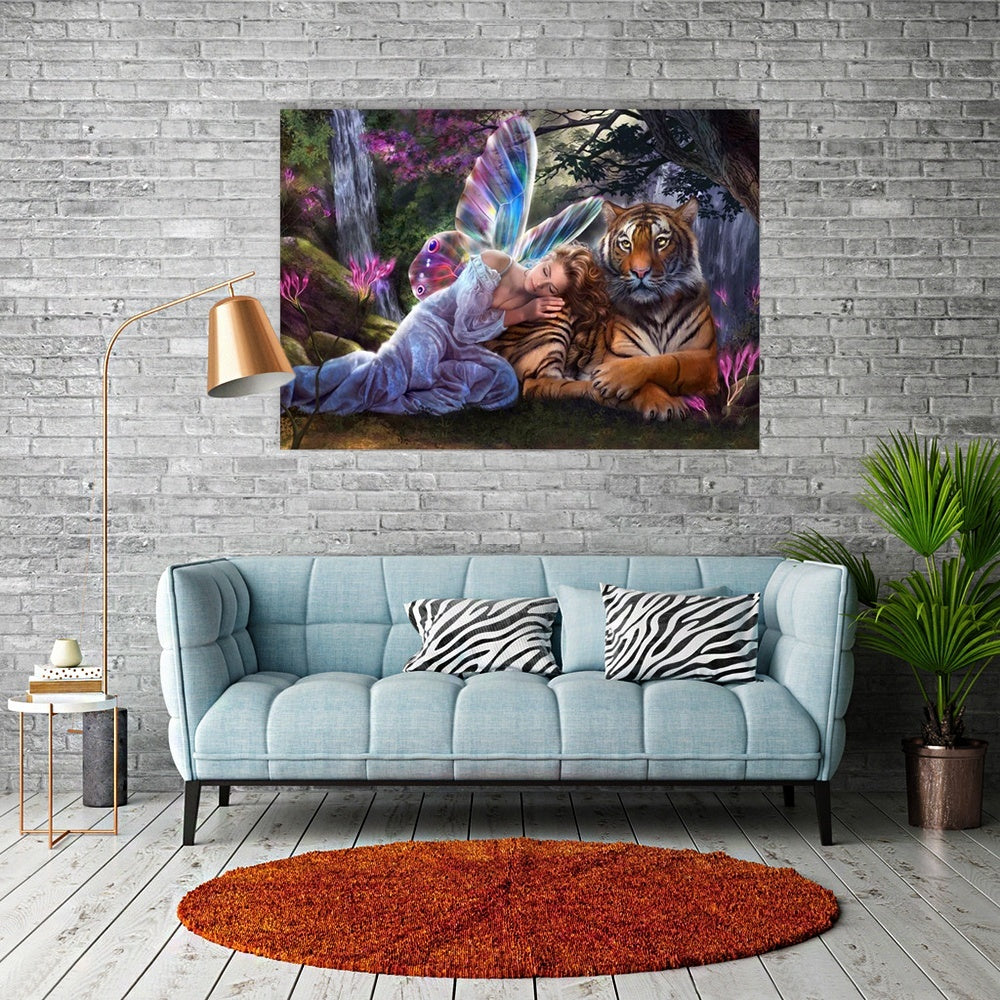 Angel Tiger Diamond Painting 5D Diamond Painting Full Diamond Painting Diy Gift Living Room Home Decoration Fashion Classic Figure Decorative Painting Gift 3d Manual Oil Painting Canvas Painting Mural Embroidery Diamond Painting AX2004