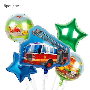 Vehicle series balloons Happy Birthday kids Ice cream cart Party Decorations car baby gift tractor bulldozer Fire truck globs