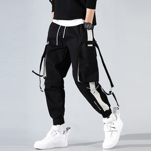Men Cargo Joggers Casual Buckle Multi Pocket Cargo Pants Loose Hip Hop Street Style Man Pants