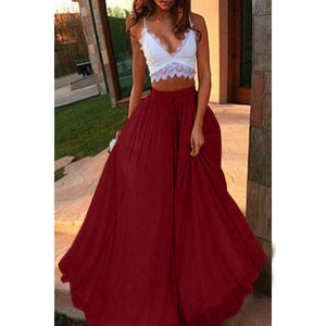Trendy Women Summer Solid High Waist Skirt Plus Size Elastic Waist Big Swing Long Dress Fashion Boho Loose Maxi Dresses