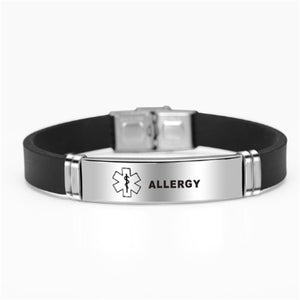 1 Pc Stainless Steel Silicone Medical Bracelets Bangles Type 1/2 Diabetes Epilepsy Alzheimer's Emergency Jewelry Gifts